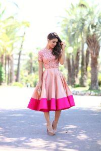saia midi rosa e blusa renda