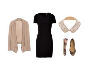 Vestido preto e gola