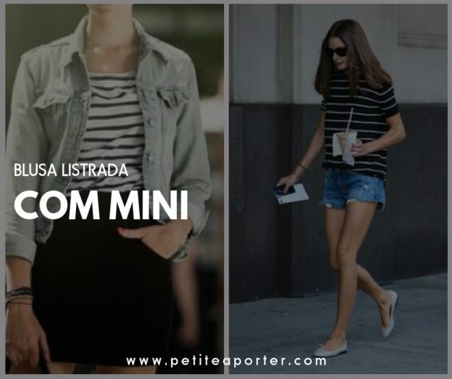 blusa listrada com mini
