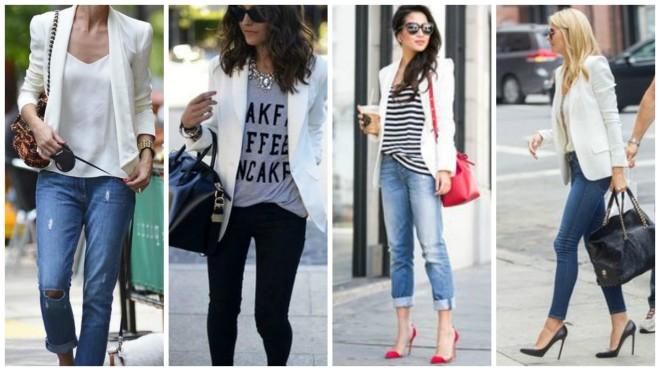 blaser branco com jeans