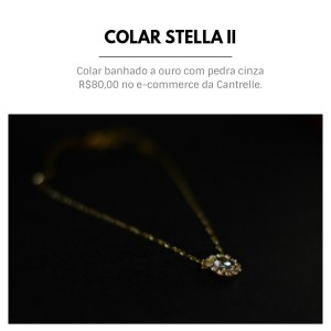colar stella II banhado a ouro com pedra cinza