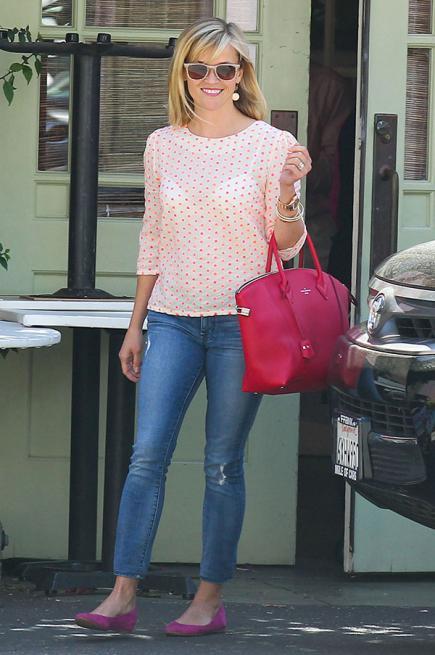Reese Witherspoon blusa estampada para baixinhas