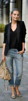 camiseta blaser e boyfriend jeans