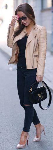 jaqueta de couro bege