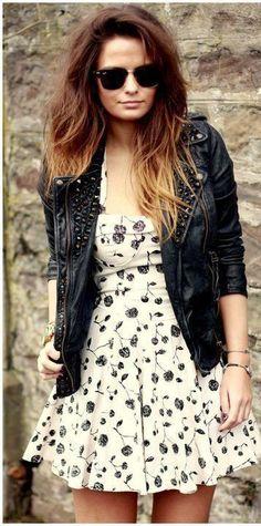 jaqueta de couro com vestido floral