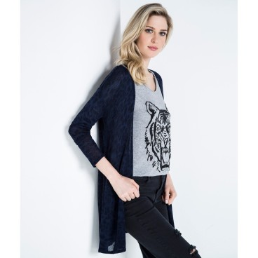 cardigan animal print shoulder