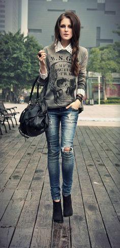 moletom com camisa e jeans