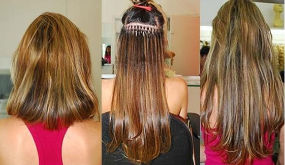 mega hair com as camadas marcadas