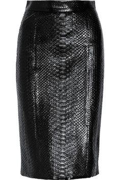 saia de couro de cobra preta