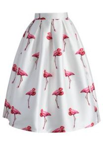 saia de flamingos estampa figurativa