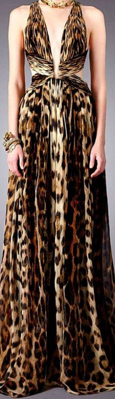 vestido cavali animal print onça frente unica
