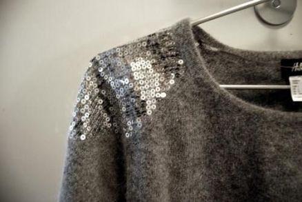 tricot com ombro de paetes prata