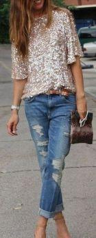 blusa de paetes com jeans boyfriend