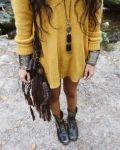 coturno com vestido de tricot boho