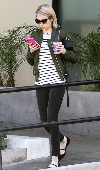 Bomber Jacket Green e Listras - Emma Roberts