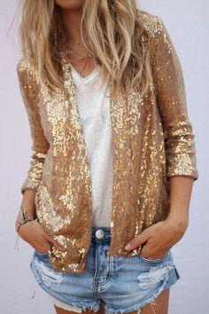 jaqueta de paetes dourado