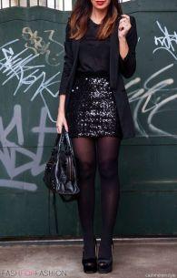 saia de paetes preta look all black