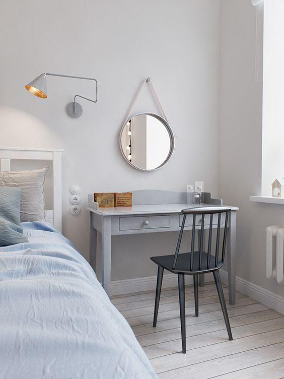 quarto com escrivaninha estilo escandinavo