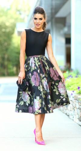 Body Preto + Saia Midi Floral