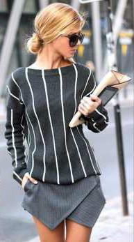 Look para baixinha - Blusa com Listras Verticais