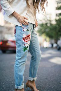 look com calça jeans bordada