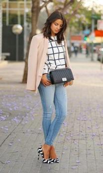 Scarpin colorido listras + jeans