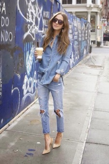Scarpin nude + all jeans