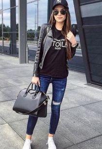 Bolsa Preta + Jeans + Boné