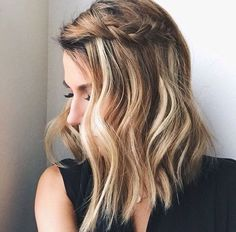 penteado trança lateral long bob