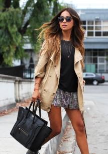 Bolsa Preta + Shorts + Casaco