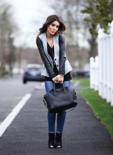 Bolsa Preta + Jeans + Colete