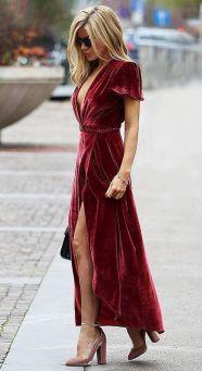 Tendência: Veludo molhado vestido longo