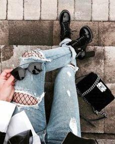 meia calça arrastão com calça rasgada