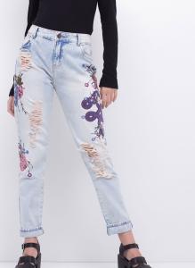 calça mom jeans bordada youcom