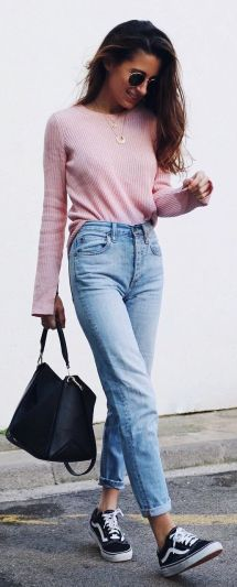 mom jeans and millennial pink