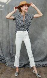 camisa vichy com calça branca