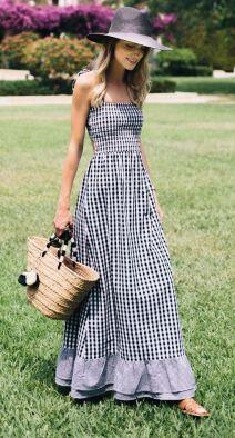 vestido longo vichy